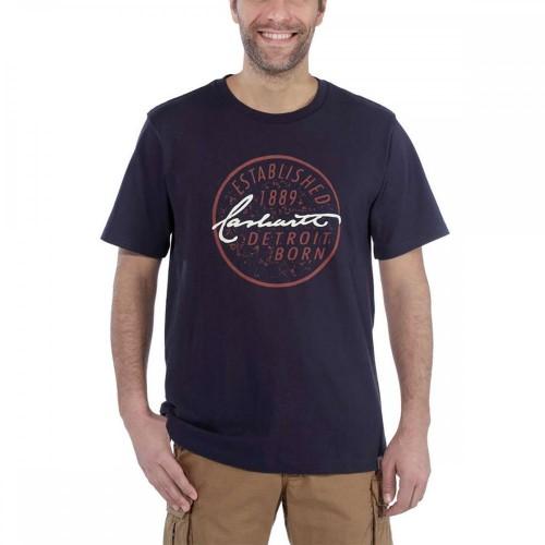 Carhartt Detroit Born Logo Short Sleeve T-Shirt Navy