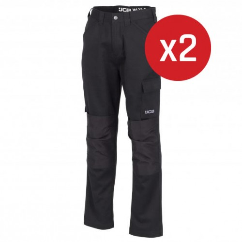 JCB Essential Cargo Trousers Black 2-Pack