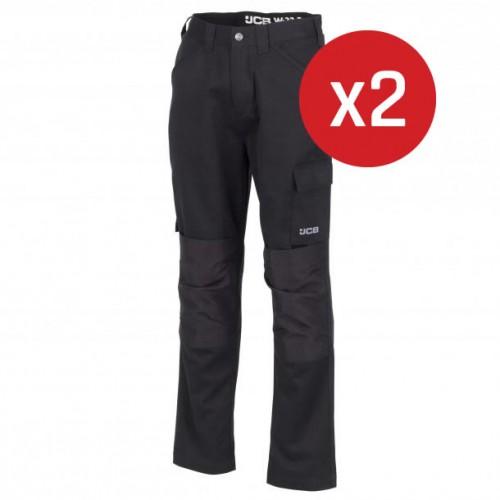 JCB Essential Cargo Trousers Black 2-Pack