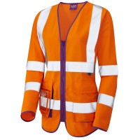 Leo Workwear Beaworthy Ladies Sleeved Waistcoast Orange