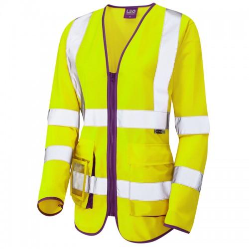 Leo Workwear Beaworthy Ladies Sleeved Waistcoast Yellow