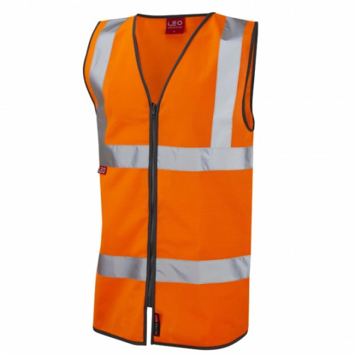 Leo Workwear Huntshaw Class 2 Orange LFS Hi Vis Waistcoat