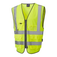 Leo Workwear Barnstaple Class 2 GO/RT Yellow Superior Hi Vis Waistcoat
