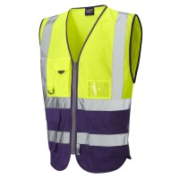 Leo Workwear Lynton Hi-Vis Yellow/Purple Superior Waistcoat