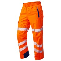 Leo Workwear Lundy Orange Hi-Vis Waterproof Overtrouser