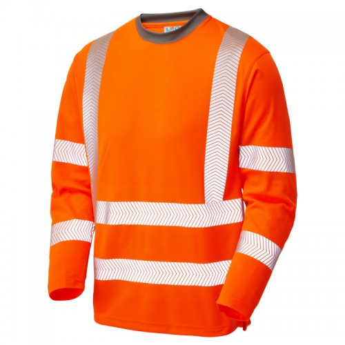 Leo Workwear Capstone Hi-Vis Sleeved T-Shirt Orange