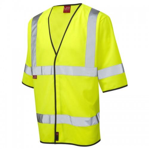 Leo Workwear Roundswell Yellow Hi-Vis Half Sleeve Waistcoast