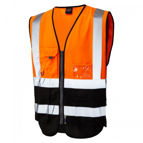 Leo Workwear Lynton Hi-Vis Orange/Black Superior Waistcoat
