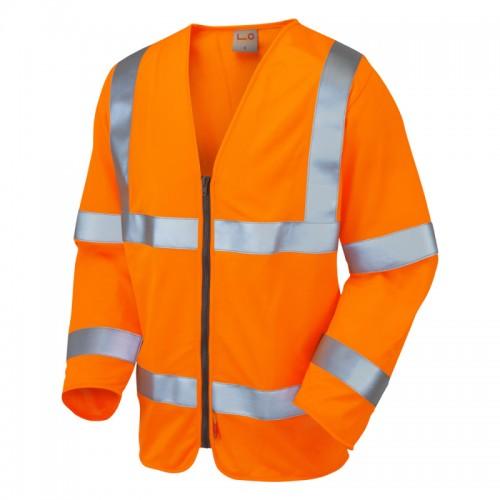 Leo Workwear Merton Hi-Vis Fire Retardant Waistcoat Orange