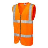 Leo Workwear Meeth Orange Hi-Vis Waistcoat