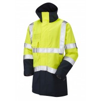 Leo Workwear Clovelly Class 3 Yellow/Navy Hi Vis Breathable Executive Anorak
