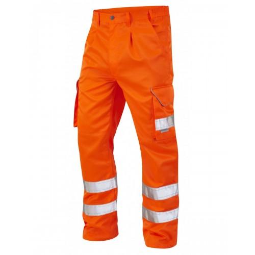 Leo Workwear Bideford Class 1 GO/RT Orange Hi Vis Work Trousers