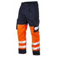 Leo Workwear Bideford Class 1 Orange/Navy Hi Vis Work Trousers