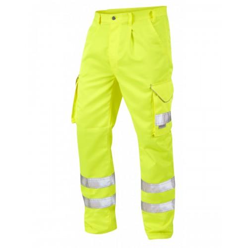 Leo Workwear Bideford Class 1 Yellow Hi Vis Work Trousers