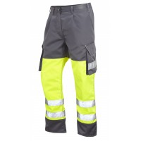 Leo Workwear Bideford Class 1 Yellow/Grey Hi Vis Work Trousers