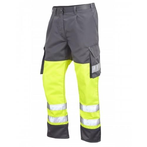 Leo Workwear Bideford Class 1 Yellow/Grey Hi Vis Work Trousers