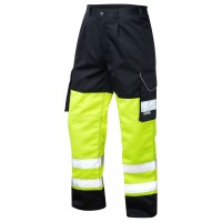 Leo Workwear Bideford Class 1 Yellow/Navy Hi Vis Work Trousers