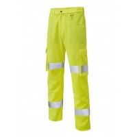 Leo Workwear Yelland Class 1 Yellow Lightweight Cargo Trouser