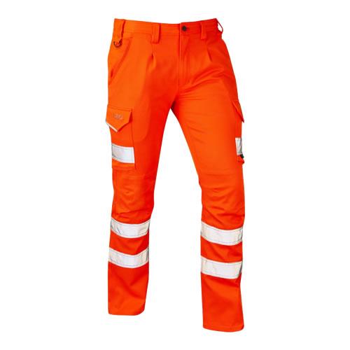 Leo Kingford Orange Hi-Vis Stretch Cargo Trousers