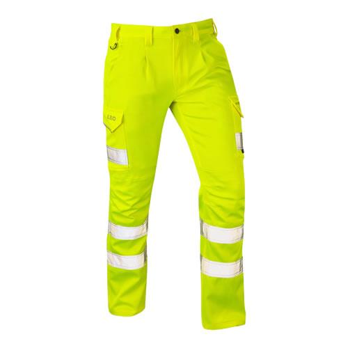 Leo Kingford Yellow Hi-Vis Stretch Cargo Trousers