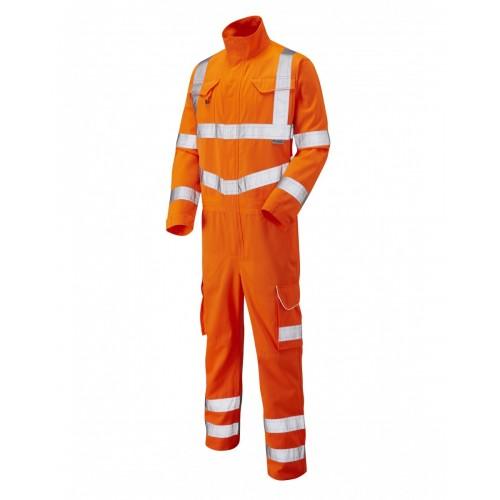 Leo Workwear Molland Class 3 GO/RT Orange Poly/Cotton Coverall