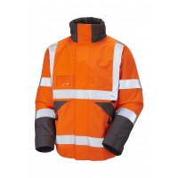 Leo Workwear Bickington Class 3 Orange Hi Vis Waterproof Bomber Jacket