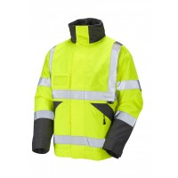 Leo Workwear Bickington Class 3 Yellow Hi Vis Waterproof Bomber Jacket