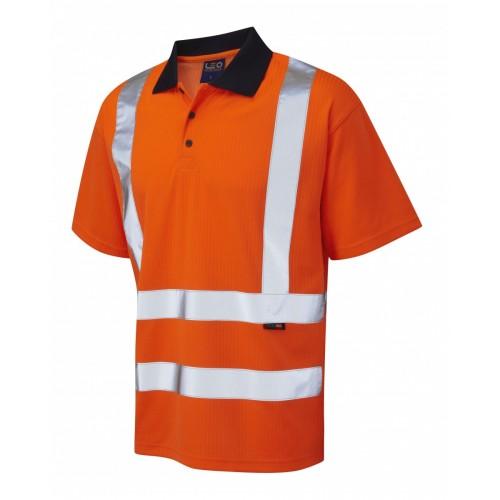 Leo Workwear Croyde Class 2 Orange Poly/Cotton Polo Shirt