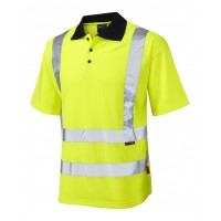 Leo Workwear Croyde Class 2 Yellow Poly/Cotton Polo Shirt