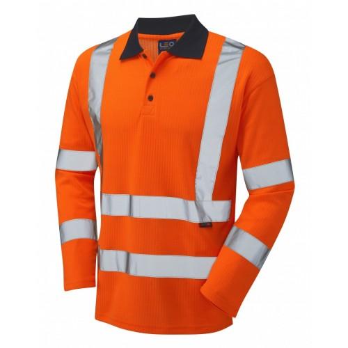 Leo Workwear Swimbridge Class 3 GO/RT Orange Poly/Cotton Sleeved Polo Shirt