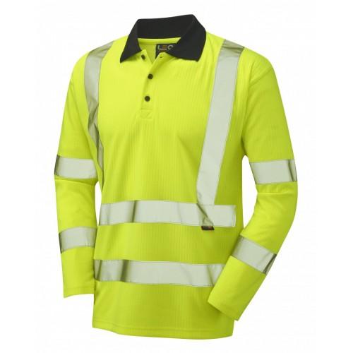 Leo Workwear Swimbridge Class 3 Yellow Poly/Cotton Sleeved Polo Shirt