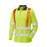 Leo Workwear Bickleton Class 3 Orange Brace CoolViz Sleeved Polo Shirt