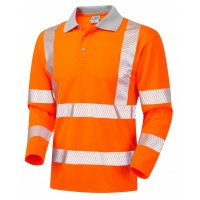 Leo Workwear Barricane Class 3 Orange Hi Vis Long Sleeve Polo Shirt