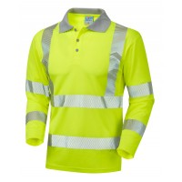 Leo Workwear Barricane Class 3 Yellow Hi Vis Long Sleeve Polo Shirt