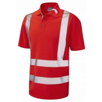 Leo Workwear Broadsands Class 2 Red Hi Vis Polo Shirt