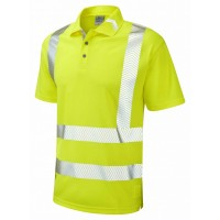 Leo Workwear Broadsands Class 2 Yellow Hi Vis Polo Shirt