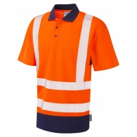 Leo Workwear Mortehoe Class 2 Orange/Navy Hi Vis Polo Shirt
