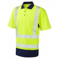 Leo Workwear Mortehoe Class 2 Yellow/Navy Hi Vis Polo Shirt