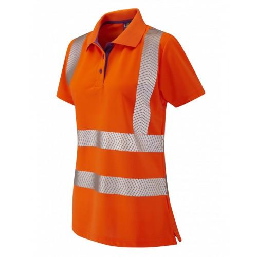 Leo Workwear Pippacot Class 2 Orange CoolViz Ladies Polo Shirt