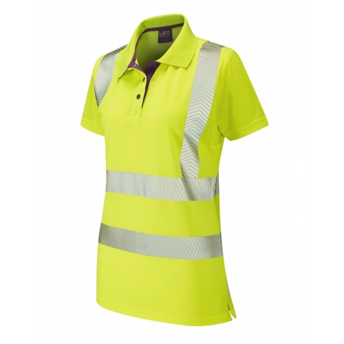 Leo Workwear Pippacot Class 2 Yellow CoolViz Ladies Polo Shirt