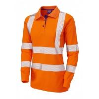 Leo Workwear Pollyfield Class 2 GO/RT Orange CoolViz Ladies Sleeved Polo Shirt