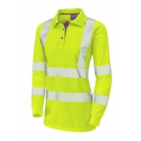 Leo Workwear Pollyfield Class 2 Yellow CoolViz Ladies Sleeved Polo Shirt