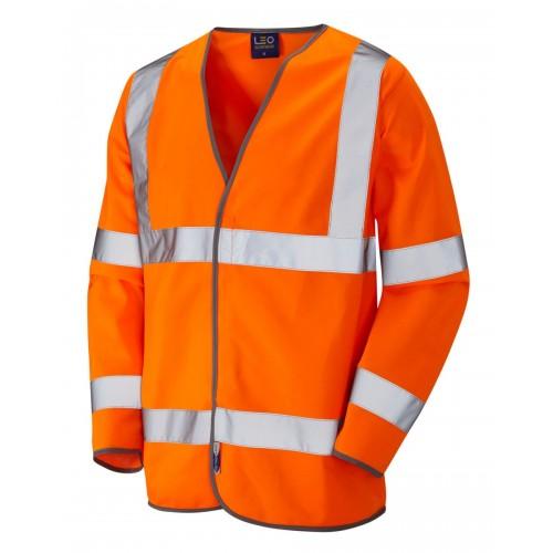 Leo Workwear Shirwell Class 3 Orange Hi Vis Sleeved Waistcoat