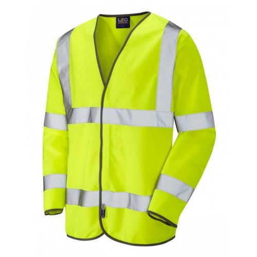 Leo Workwear Shirwell Class 3 Yellow Hi Vis Sleeved Waistcoat