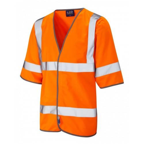Leo Workwear Gorwell Class 3 Orange Hi Vis Half Sleeved Waistcoat