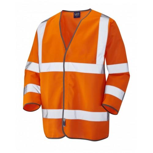 Leo Workwear Forches Class 3 Orange Hi Vis 3/4 Length Sleeved Waistcoat