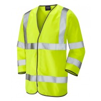 Leo Workwear Forches Class 3 Yellow Hi Vis 3/4 Length Sleeved Waistcoat