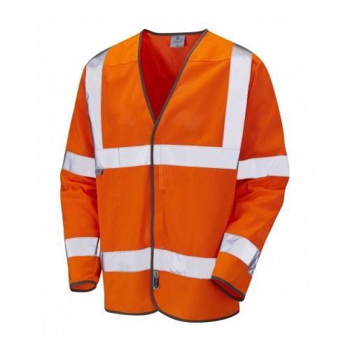 Leo Workwear Fremington Class 3 Orange CoolViz Sleeved Waistcoat