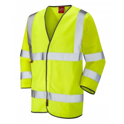 Leo Workwear Kentisbury Class 3 Yellow 3/4 Sleeve Hi Vis LFS Waistcoat