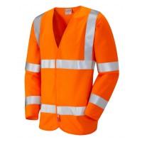 Leo Workwear Parkham Class 3 LFS Orange Hi Vis Sleeved Waistcoat
